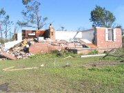 Tornado damage in Riegelwood days after last year's storm.