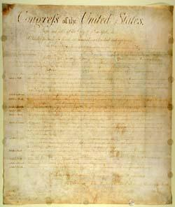 NC original copy of the Bill of Rights.