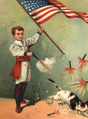 A vintage Fourth of July postcard
