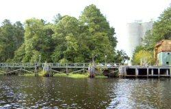A portion of the proposed site on the Northeast Cape Fear River where Titan America is looking to build a cement plant. The exiting structures are remnants of the defunct Ideal Cement Plant.