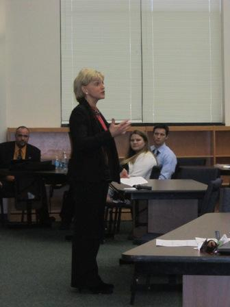 Governor Bev Perdue talks to New Hanover County principals and school counselors in Wilmington at the Board of Education.