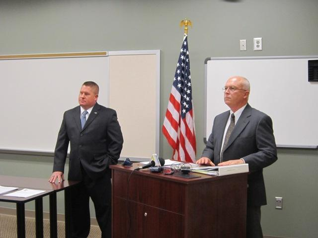 Wrightsville Beach Police Chief Daniel House (left) and Town Manager Bob Simpson announcing the disciplinary action taken after an internal investigation of three officers last month.