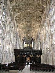 Fan vaulting in the ceiling of King's College, Cambridge (site of the Festival of 9 Lessons and Carols)