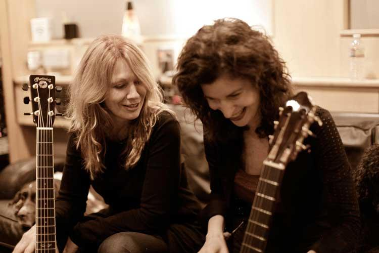 Sharon Isbin (on right) in the studio with Nancy Wilson,  famous rock guitarist from Heart.