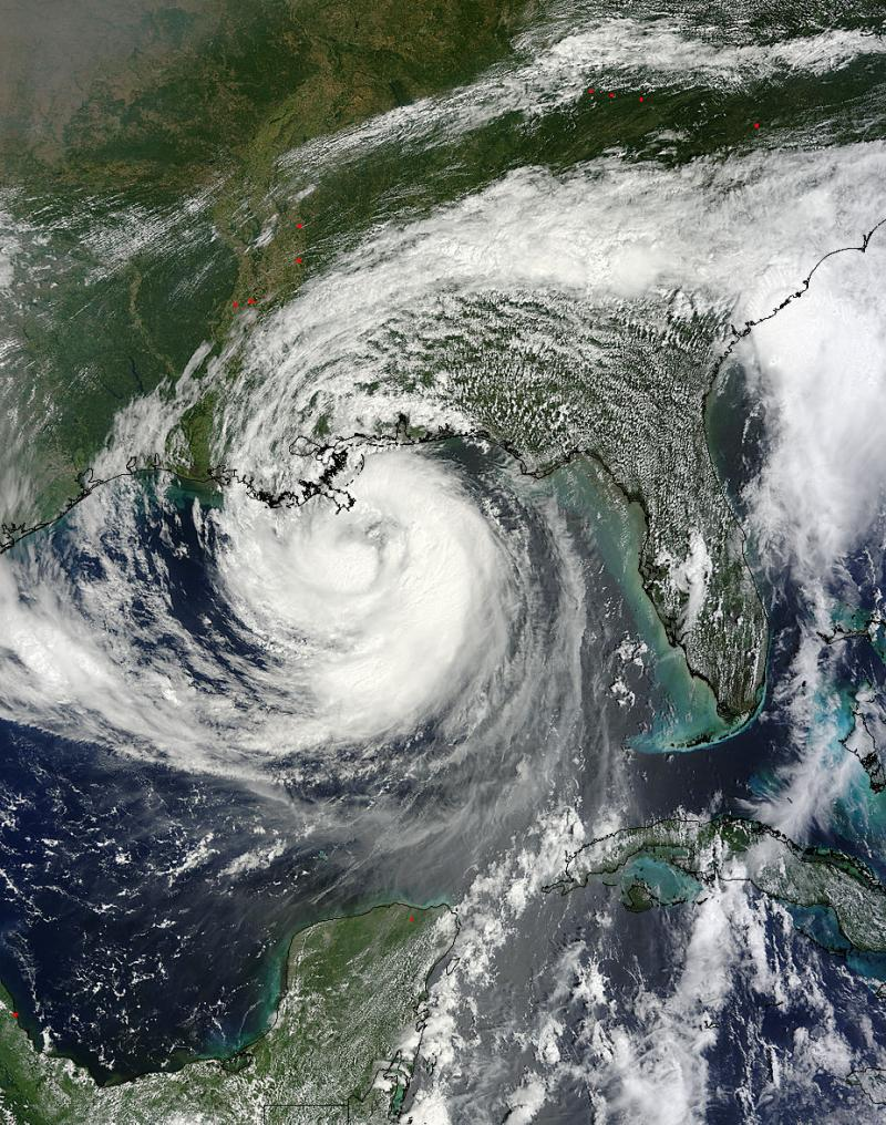 Hurricane Isaac as a Category 1 storm heading towards the Gulf Coast on August 28, 2012