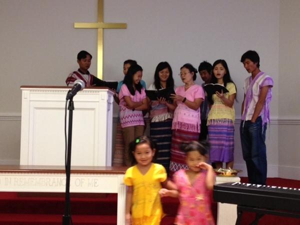 Burmese refugees at First Baptist Church in Wilmington