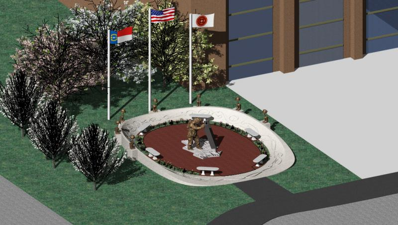 artist's rendering of Empie Park Fire Station Memorial to honor fallen Wilmington firefighters and September 11th heroes