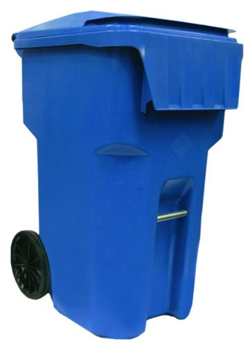 New blue recycling cart