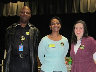 From left to right James Parham, GE Engineer, Cathleena Fonville, GE Engineer, and the STEM Coordinator and Computer Resource teacher at Rachel Freeman, Allison Ashton.