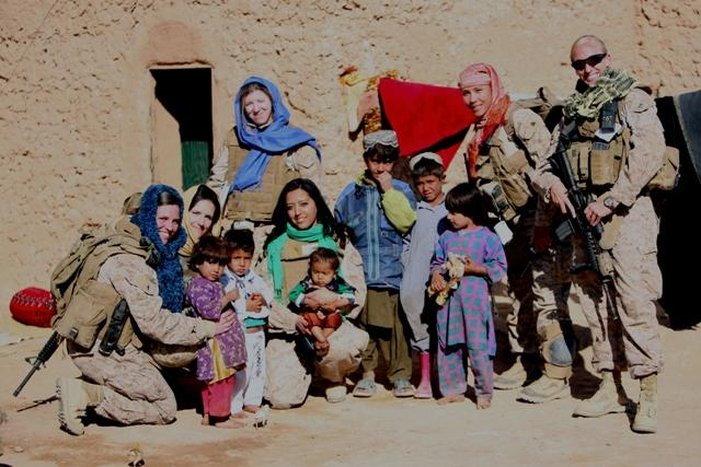 Sgt. Blackburn-Hoelscher (second from R) in Afghanistan