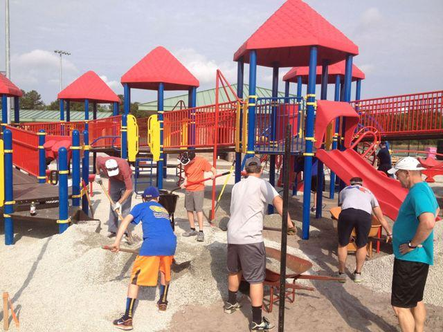 Final touches on Miracle League playground