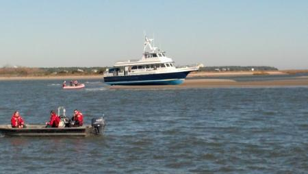 "BHI Ferry ""Adventure"" grounded on sand bar"