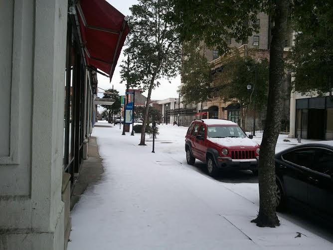 Hard-packed snow and ice covering Front Street in downtown Wilmington, January 29, 2014