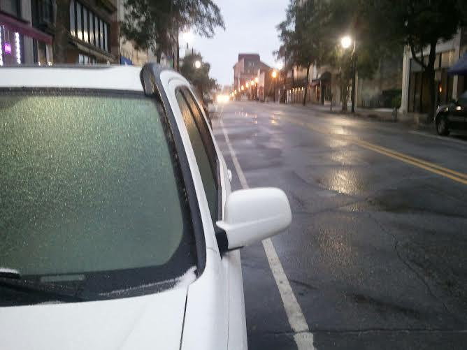 Sleet Covers Cars on N. Front Street after 5 PM Tuesday, Jan. 28th in downtown Wilmington