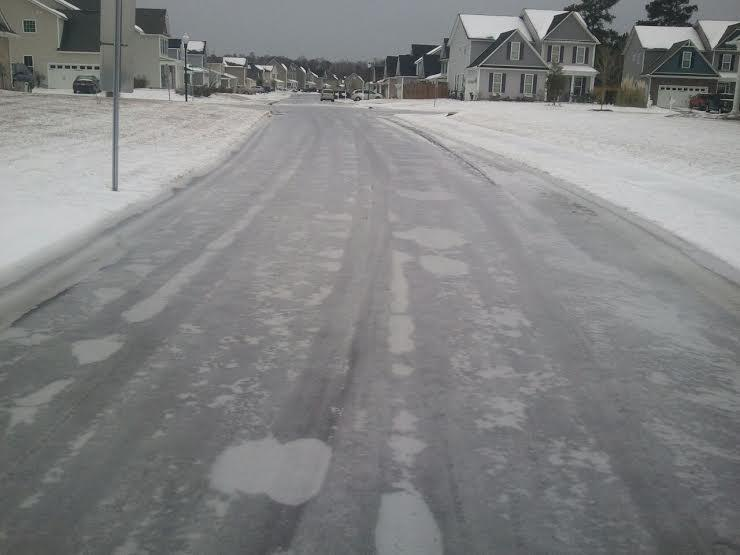 Ice covers this Brunswick County road on January 30, 2014