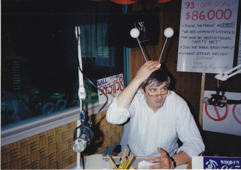 WHQR's original station manager, Michael Titterton, during a 1993 pledge drive.