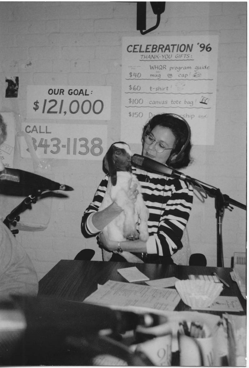 Another 4-legged visitor, with Beth Becka, Development Director, in 1996.