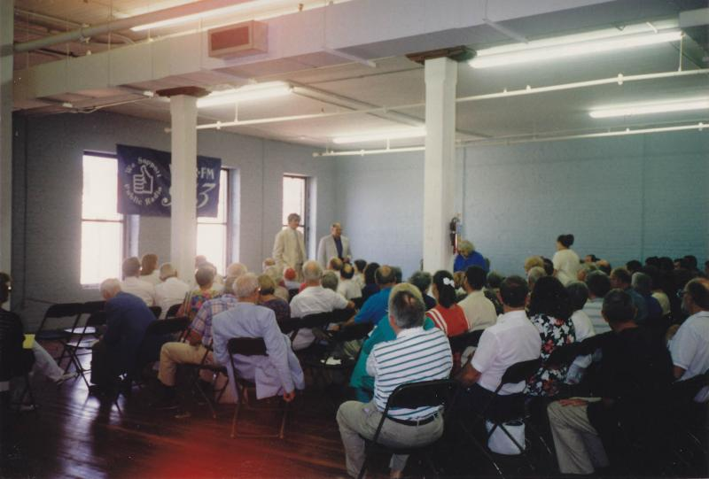 A General Meeting in the space that would become the MC Erny Gallery (and the membership office).