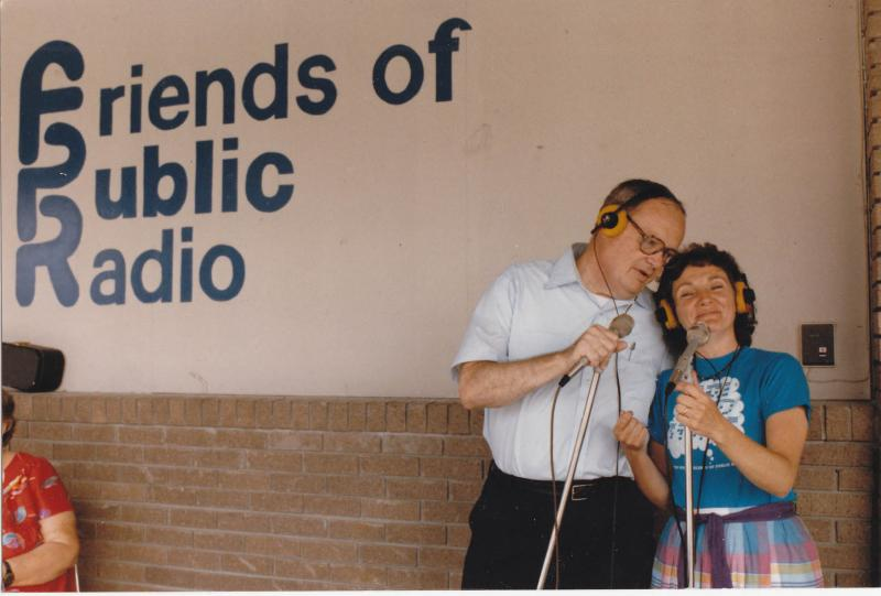 Bob Pratt, news host, and Trish Snyder, original Development Director, outside the Greenfield Street station.