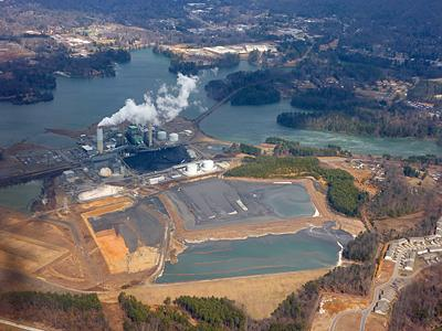 The two ash impoundments at Duke Energy's Asheville Plant near the French Broad River.
