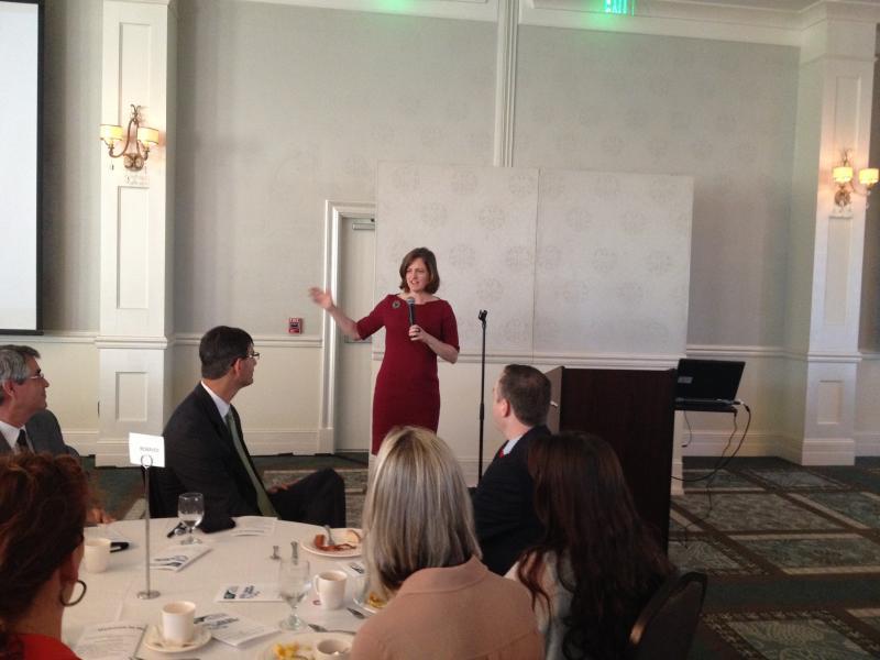State treasurer Janet Cowell welcomes entrepreneurs at the Center for Innovation and Entrepreneurship's latest business event.