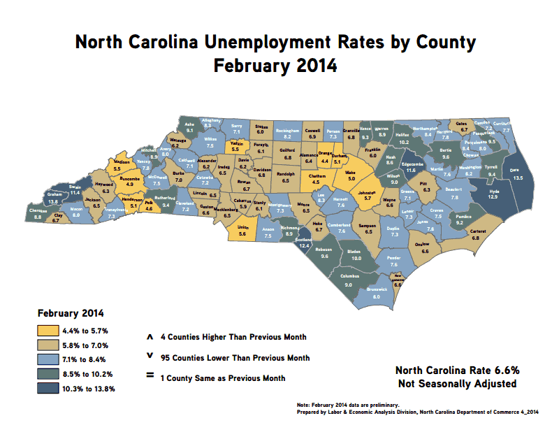 Unemployment Rates, County by County, February 2014