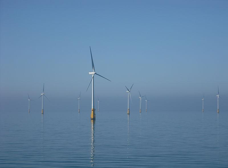 Offshore wind turbines in the Irish Sea off Walney Island