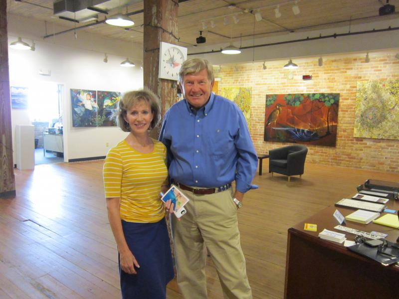 Artist Jenny McKinnon- Wright and Landfall Foundation President Bill Hamlet