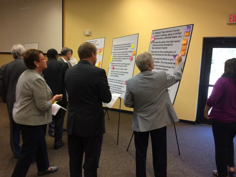 City council members and county commissioners collaboratively worked to identify the six goals that were (1) most important to improve economic growth and (2) attainable.