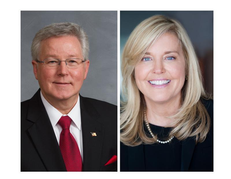Republican Representative Rick Catlin (left); Democratic Challenger Betsy Jordan (right)