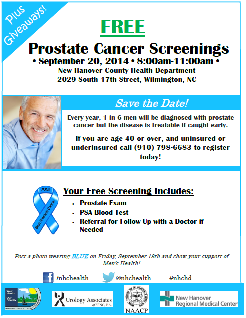 Screenings will be provided at the NHC Health Department on Saturday from 8-11AM.