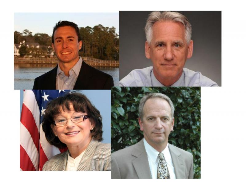 Candidates for New Hanover County Board of Commissioners clockwise from top left:  Derrick Hickey (R), Rob Zapple (D), Skip Watkins (R), Patricia Spear (D)