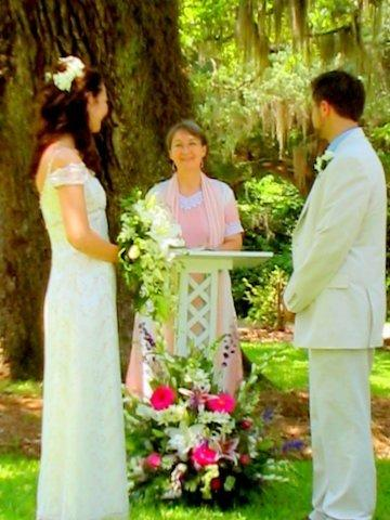 Jemila performing a wedding at Orton Plantation for Lilia Allen and Adam Murray, 2008