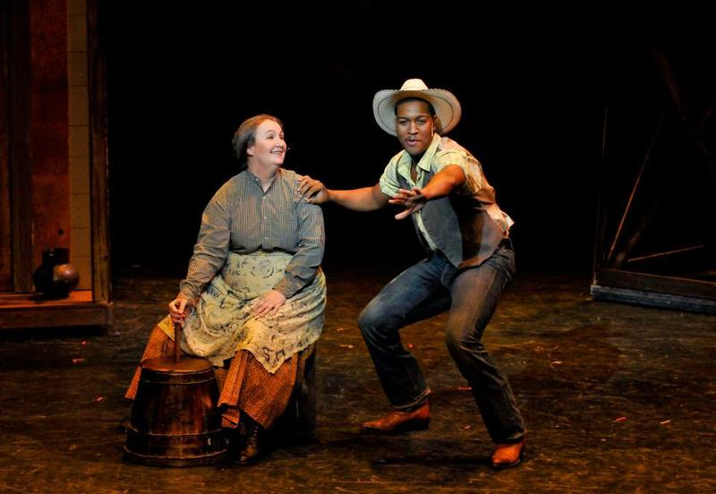 "Jemila as Aunt Eller and Nygel Robinson as Curly in ""Oklahoma"" for Opera House Theatre Company 2013"