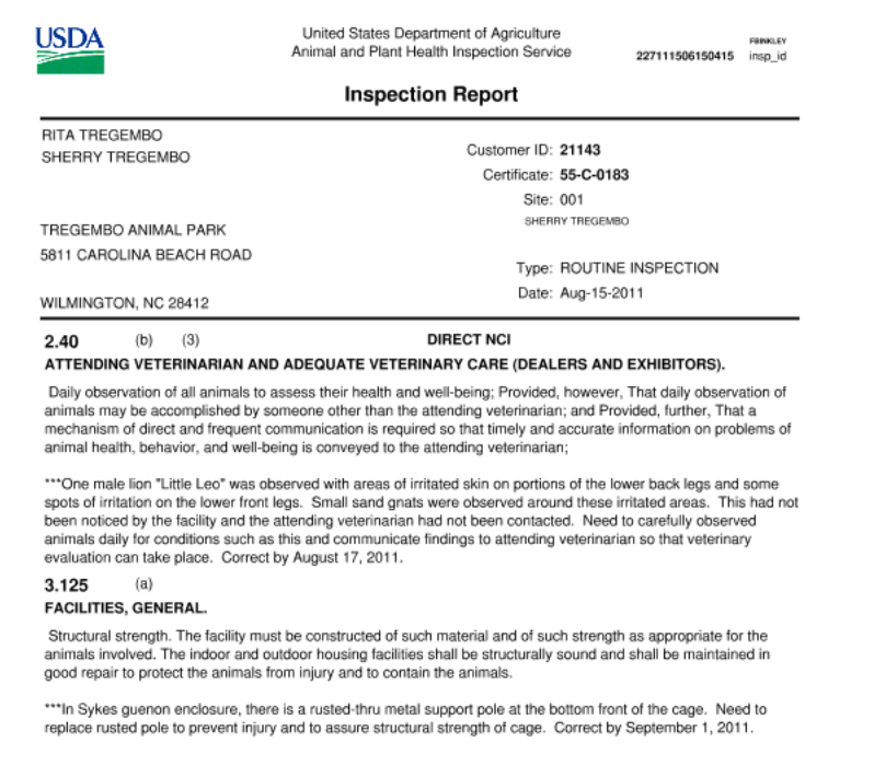 USDA Inspection Report from 2011