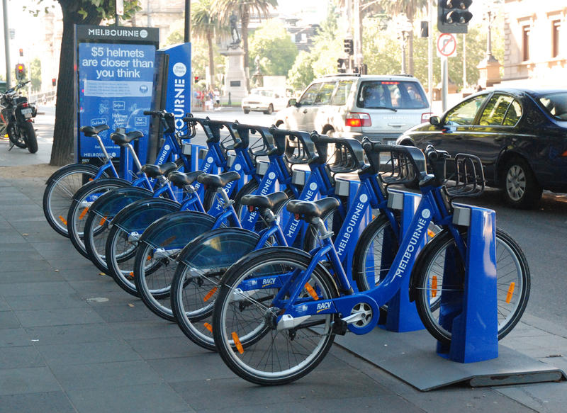 These bikes in Melbourne, Australia are part of a publicly-funded bicycle sharing program.