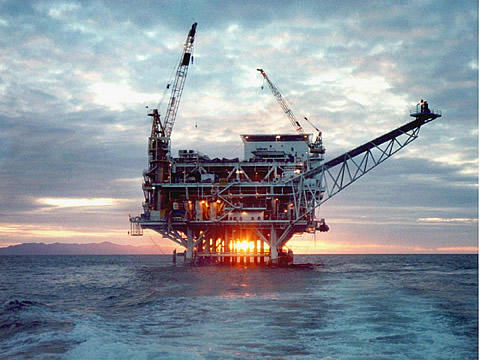 Oil drilling platform offshore