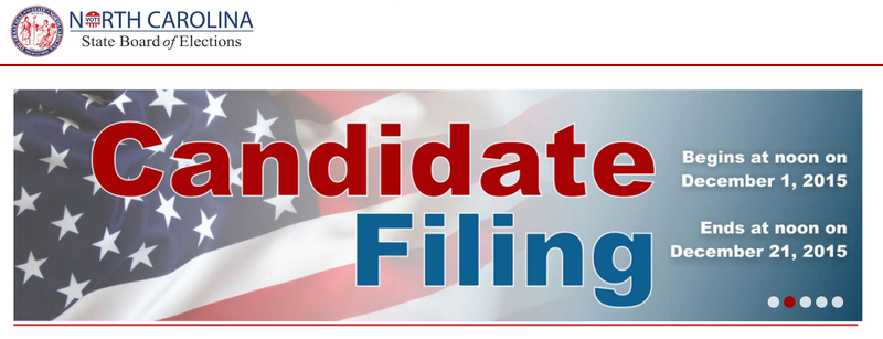 Candidate filing opens in North Carolina on December 1st and runs through December 21st.