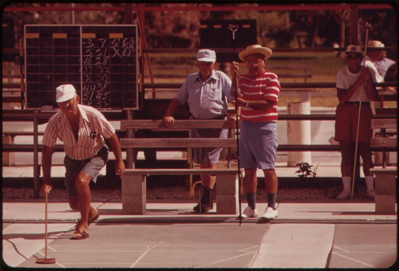 Shuffleboard at the Century Village Retirement Community in West Palm Beach, Florida in 1973.