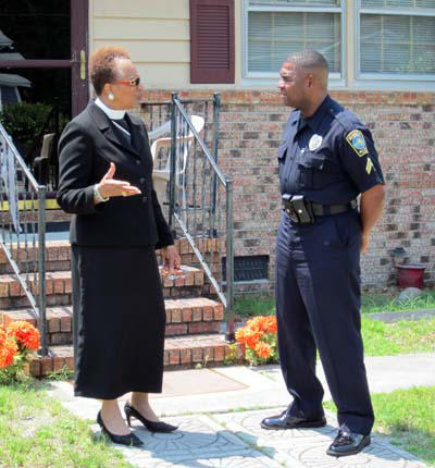 A Wilmington Police Officer talking with a citizen