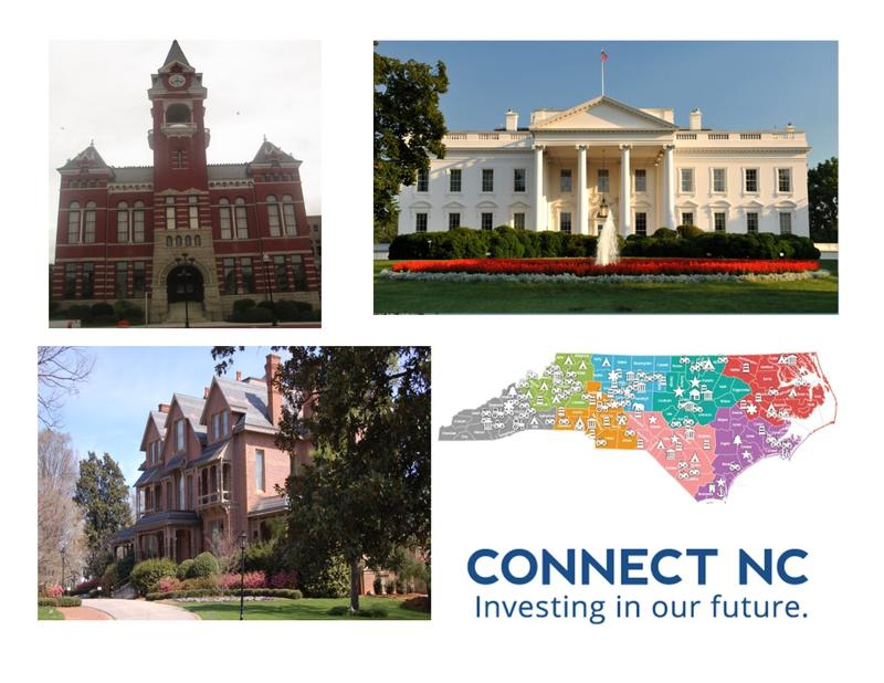 On March 15th, voters will decide on a $2 billion bond and primary races ranging from U.S. President to NC Governor to County Boards.  (Clockwise from top left:  New Hanover County Courthouse, The White House, Connect NC Bond, NC Exec. Mansion)