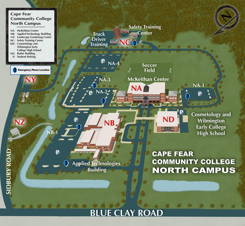 Map of the North Campus at Cape Fear Community College.  The CTE High School is planned for a plot of land just inside the entrance of the campus.  The building would house classrooms. Existing tech facilities would be open to h.s. students.