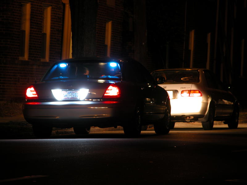 Night-time traffic stop on Gregson St in Durham, North Carolina.