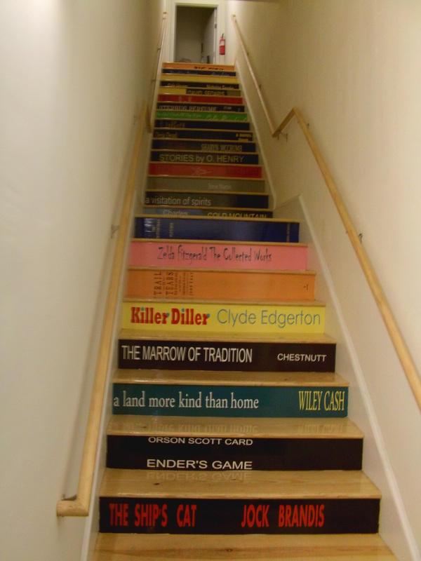 "Stairwell to ""Top Shelf: A Literary Loft"""