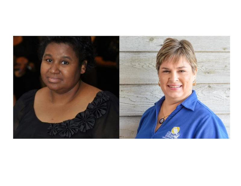 Left:  Sharon Woodard Crawford, Dem. Candidate for Brunswick County Board of Ed.; right:  Catherine Cooke, Rep. Incumbent, Brunswick County Board of Ed.