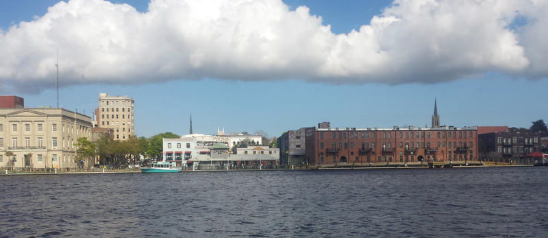 Looking across the Cape Fear River, at downtown, from the property on Battleship Road.