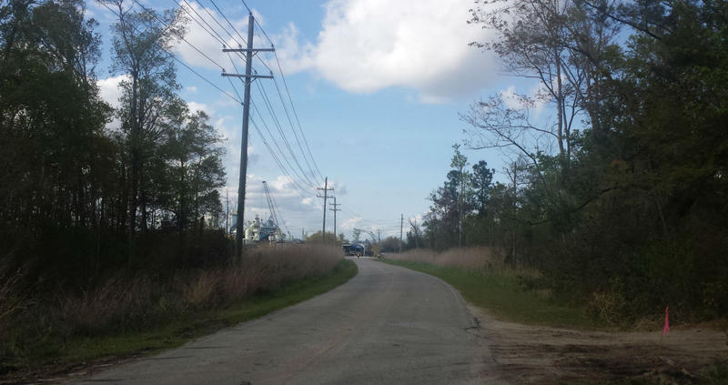 Looking north up Battleship Road, toward the USS North Carolina.