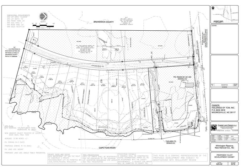 The proposed site plan for the 15 lots along Battleship Road.
