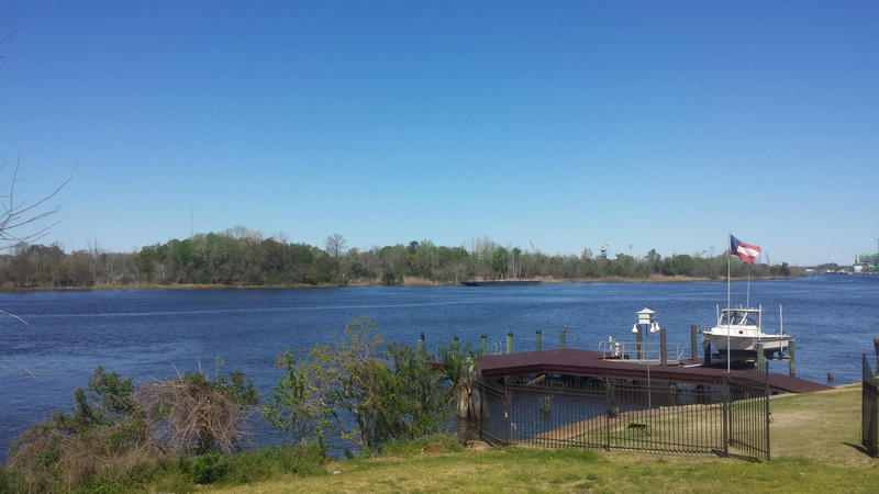 View of the parcels from the boat ramp at Dram Tree Park, near Cape Fear Memorial Bridge.