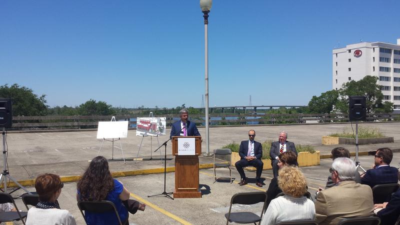 Wilmington Mayor Bill Saffo discusses the River Place project on Monday.
